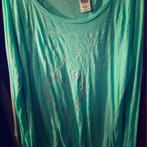 PINK Victoria Secret oversized mint green top